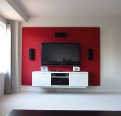 Want to make your bachelor pad look better? Learn how to build a floating wall TV stand in this DIY interior design guide. Floating Tv Unit, Floating Tv Stand, Floating Wall, Floating Shelves, Design Stand, Tv Stand Designs, Wall Tv Stand, Diy Tv Stand, Tv Wall Design
