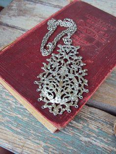 Vintage Large Medallion Pendant Necklace by primitivepincushion, $28.99