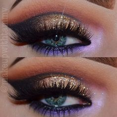 Cut Crease Eyeshadow: Gold Glitter Sparkles, Bronze, Copper, Lavender on lower lash line - Disco American Hustle Halloween Costume Inspiration