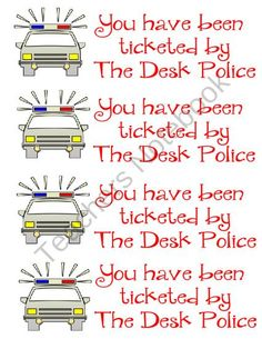 Police Desk Tickets from Third Grade Love on TeachersNotebook.com (1 page)