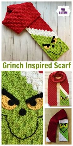 grinch scarf crochet pattern free Crochet Grinch Scarf Free Crochet Pattern - Video: fun Christmas scarf for kids Beau Crochet, Crochet Kids Scarf, Bonnet Crochet, Crochet Scarves, Crochet For Kids, Crochet Yarn, Crochet Stitches, Crochet Mittens, Crochet Clothes