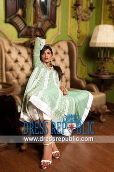 Tea Green Acacia, Product code: DR8895, by www.dressrepublic.com - Keywords: Shalwar Kameez Shops Medicine Hat, Red Deer, St Albert, AB Canada Pakistani Dresses