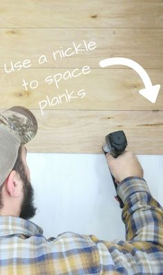 How To Install A Faux Shiplap Wall, Ready for handy tip? Use a nickle to space your planks out on your faux shiplap wall! Put one on both the left and the right of the wall (and in the m. Easy Home Decor, Cheap Home Decor, Home Decor Items, Boho Apartment, Installing Shiplap, Diy Home Decor For Apartments, Faux Shiplap, Shiplap Diy, Shiplap For Sale