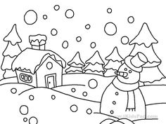 winter coloring pages 02 | school | Pinterest | Winter, Craft and ...