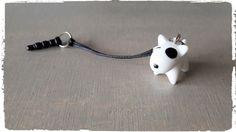 Mobielhanger hondje wit met zwart
