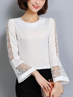 Casual Round Neck Hollow Out Plain Chiffon Bell Long Sleeve T-Shirt