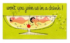 """vintage """"swingers"""" invite From our collection, a risque mini invitation by Citation Cards, New York: A naked couple floats is a cocktail glass along side a cherry. """"Won't you join us in a drink!"""" Inside: """"Time, Date, Place"""" Vintage Bar, Vintage Design, Vintage Images, Retro Images, Vintage Graphic, Cocktail Party Invitation, Party Invitations, Invites, Vintage Invitations"""
