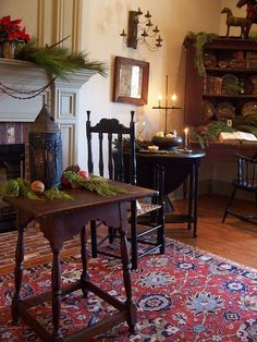 Love the texture and layers in this picture from background to foreground--desk, gate leg, windsor, tavern table