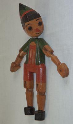 Antigo Boneco Em Madeira Pinóquio - R$ 148,00 no MercadoLivre