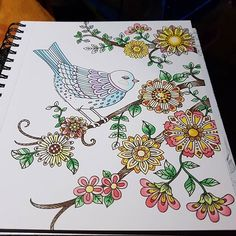 Awesome colouring page from the Chameleon Coloring Book which has been coloured by @noctule1980 wiith their Chameleon Pens.   #chameleonpens #adultcoloringbook #lorisartgarden #LoriGardnerWoods #colour #color #colouring #coloring #flowers #floral #bird
