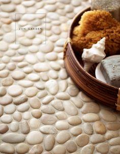 white pebble tile flooring, so zen!