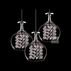 LED 3 Glass Cups Crystal Hanging Round Top Dining Room Pendant light Modern Bar Counter Restaurant Pendant Suspension Lamp-in LED Lighting f...