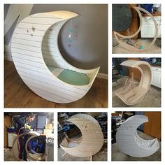 DIY Moon Cot Baby Cradle Crib Bed Instructions with pictures Free Plans and video Baby Furniture Sets, Nursery Furniture, Diy Furniture, Furniture Assembly, Baby Bedroom, Kids Bedroom, Moon Crib, Home And Deco, Baby Cribs
