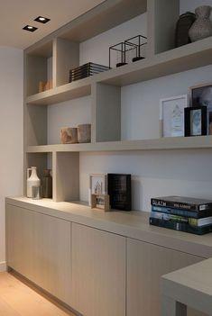 Home office organization inspiration built ins 22 Ideas Living Room Shelves, Home Living Room, Built In Bookcase, Bookcases, Barrister Bookcase, Built In Desk, Home Office Desks, Office Decor, Office Ideas