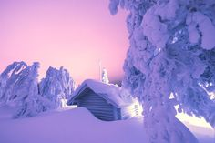 Sunset Pinks Shine On Lost Cabin - Iso-Syote, Finland