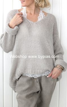Light Gray Cotton-Blend V Neck Long Sleeve Shirts & Tops - Light Gray Cozy Fashion, Knit Fashion, Fashion Looks, Womens Fashion, Stitch Fit, Mohair Sweater, Knit Cardigan, Casual Outfits, Fashion Outfits