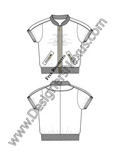 Free Illustrator Flat Sketch Sporty Jacket with Mandarin Collar and Puff Sleeves V10