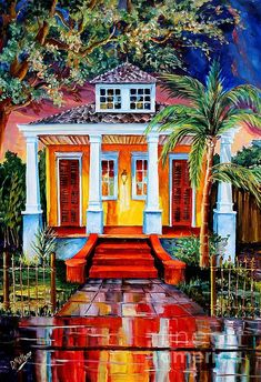 New Orleans Painting - Big Easy Bungalow by Diane Millsap New Orleans Art, New Orleans Homes, Gouache, Tropical Art, Tropical Paintings, All Poster, Posters, Thing 1, House Painting