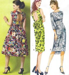 Womens Open Back Dress Full or Slim Skirt Butterick by CloesCloset