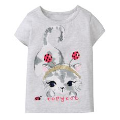 Toddler Girl Heather Grey Copy Cat Tee by Gymboree