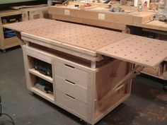 My custom built expandable MFT on rolling cart. Festool- My custom built expandable MFT on rolling cart. Workbench Stool, Workbench Plans, Woodworking Workbench, Woodworking Workshop, Woodworking Furniture, Woodworking Shop, Woodworking Projects, Garage Workbench, Steel Workbench