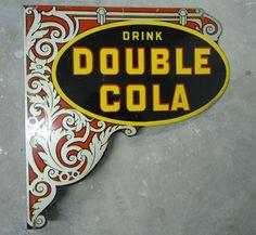 Double Cola Antique Flange (Old 1920 Soda Pop Beverage Drink Advertising Sign)