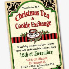 Christmas Tea And Cookie Exchange Invitation