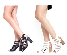 Womens Ladies Strappy High Heel Peep Toe Sandals Cage Cut Party Zip Sexy Size