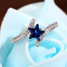 925 Sterling Silver Star Sapphire Promise Ring
