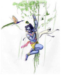 Welcome to the Blue Boy Gallery Group 2 of Marek Buchwald Little Krishna, Baby Krishna, Cute Krishna, Krishna Radha, Radha Rani, Krishna Drawing, Krishna Painting, The Blue Boy, Krishna Mantra