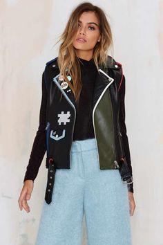 American Retro Game Girl Color Leather Vest - Sale