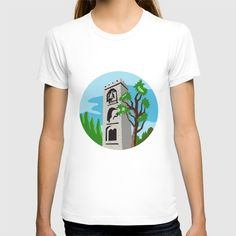 Medieval Bell Tower Circle Retro T-shirt Illustration of a medieval bell tower with tree in foreground and background set inside circle done in retro style. #illustration #MedievalBellTower