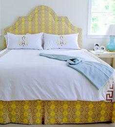 Palmer Weiss bedroom #monogram #upholsteredheadboard
