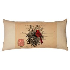 Artfully crafted from canvas, this charming pillow showcases a carte postale motif with a cardinal overlay.  Product: Pillow