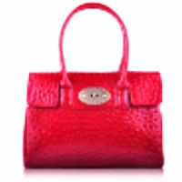 Norma Jean Luxury Red Ostrich Effect Satchel Bag