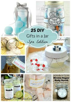 I love a good gift in a jar! Plus there are lots of easy and fun DIY ideas for spa gifts in a jar. Check out these 25 ideas. Diy Gifts In A Jar, Mason Jar Gifts, Homemade Gifts, Craft Gifts, Christmas Jars, Diy Christmas Gifts, Spa In A Jar, Diy Presents, Diy Spa