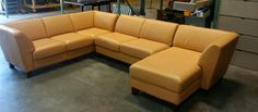 Bloomingdale's Three Piece Sunburst Leather Sectional Sofa Set*WE SHIP ANYWHERE* #Moden