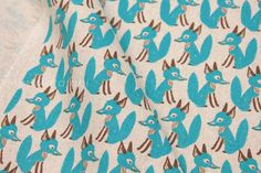Japanese Fabric Little Fox aqua blue on natural