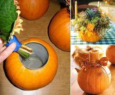 I always wondered how gourds could contain the water for these festive flower arrangements. Makes so much sense and looks relatively easy too. Thanksgiving centerpiece.