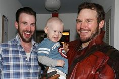 Chris Evans and Chris Pratt, making good on a Super Bowl bet to visit a children's hospital as Starlord.