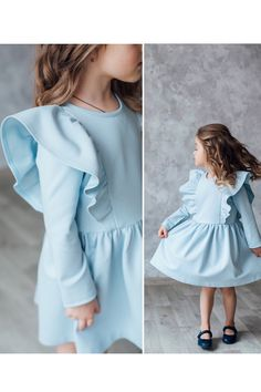 Cotton dress for girls with long sleeves - Kindermode Frock Design, Baby Dress Design, Baby Girl Dress Patterns, Baby Frocks Designs, Kids Frocks Design, Girls Spring Dresses, Little Girl Dresses, Baby Dresses, Little Girl Fashion