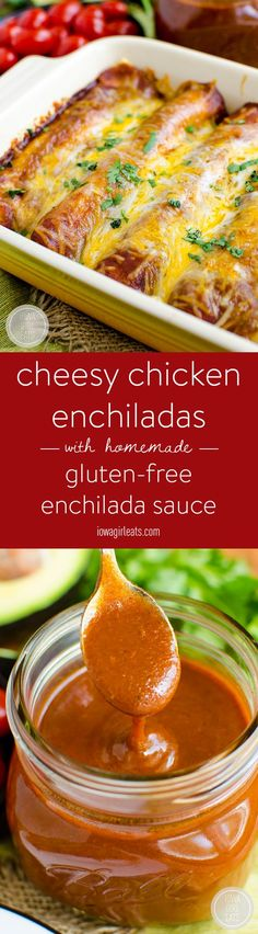 Cheesy Chicken Enchiladas with Homemade Gluten-Free Enchilada Sauce will please the whole family. Make ahead, and so simple!