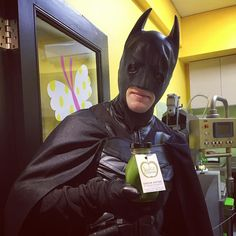 Hero drinks our cold pressed juice #batman #loves #greenjuice refreshing himself after his tough work. Thanks for dropping by. @juicestationau