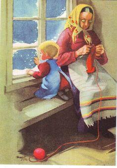 Martta Wendelin - 2 sukupolvea Winter Illustration, Illustration Art, Vintage Cards, Vintage Postcards, Knitting Club, Work Pictures, Scandinavian Art, Sewing Art, Christian Art