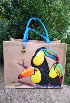 XL jute shopping bag Toucans colorful hand-painted on the front unique model original very resistant exotic bag Painted Hats, Painted Canvas Shoes, Hand Painted, Jute Shopping Bags, Sacs Design, Fabric Paint Designs, Jute Bags, Fabric Bags, Cotton Bag
