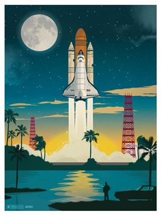 Image of Discovery Launch Poster - IdeaStorm Studio Store — Travel Posters Retro Poster, Vintage Travel Posters, Desenho Pop Art, Canvas Artwork, Canvas Prints, Space Illustration, Vintage Space, Space And Astronomy, To Infinity And Beyond