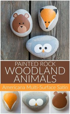 Woodland Animal Painted Rocks - Project by DecoArt Create cute animal rocks with your little ones using Multi-Surface paint! Woodland Animal Painted Rocks - Project by DecoArt Create cute animal rocks with your little ones using Multi-Surface paint! Rock Painting Patterns, Rock Painting Ideas Easy, Rock Painting Designs, Paint Designs, Rock Painting For Kids, Art Patterns, Pebble Painting, Pebble Art, Stone Painting