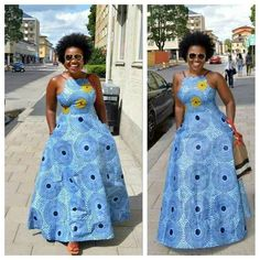 Skyblue African Print Dress/African Clothing/African Dress For Women/African Dress/African Midi Dres African Dresses For Women, African Print Dresses, African Attire, African Fashion Dresses, African Wear, African Women, African Prints, African Style, Modern African Dresses