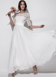 Chiffon Solide Halbe Ärmel Maxi Lässige Kleidung Kleider (1039267) @ floryday.com