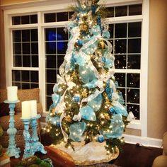 Aqua Christmas tree decorations, in my home.